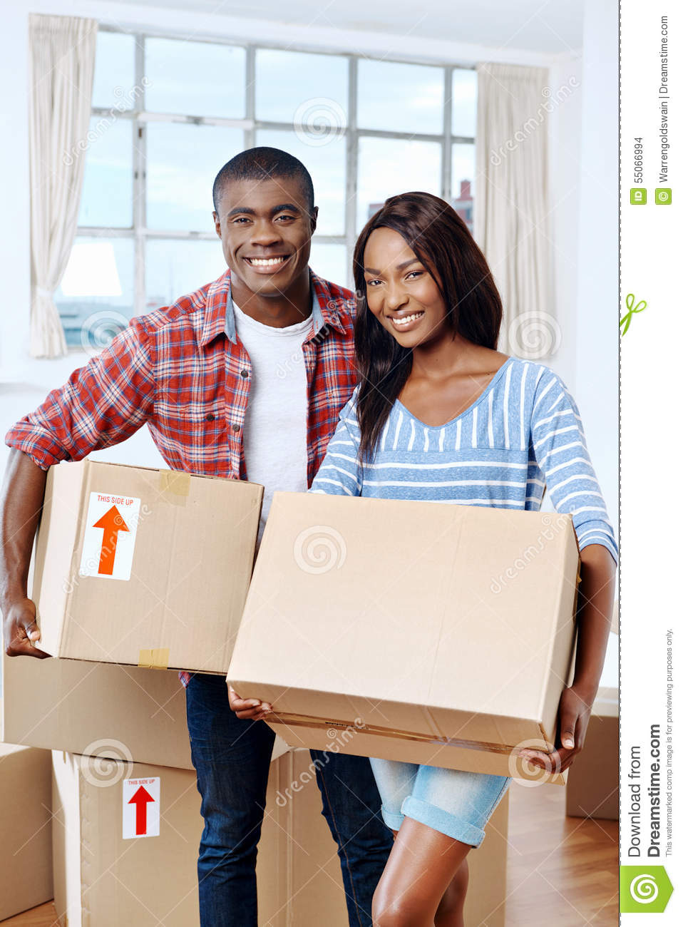 Moving boxes couple stock photo image 55066994 - Young couple modern homes ...