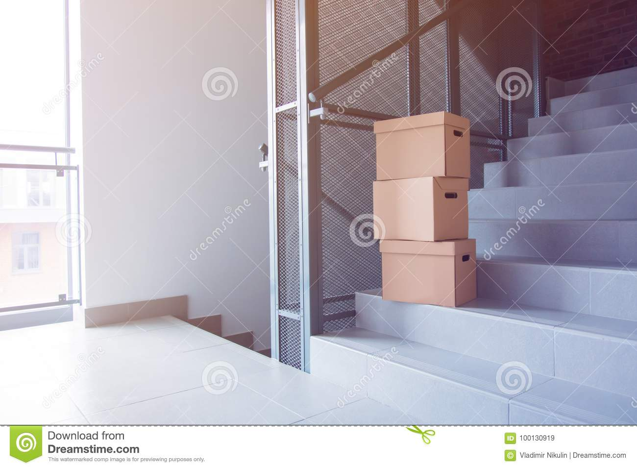 Moving Boxes On Stairs In House Stock Image Image Of Modern