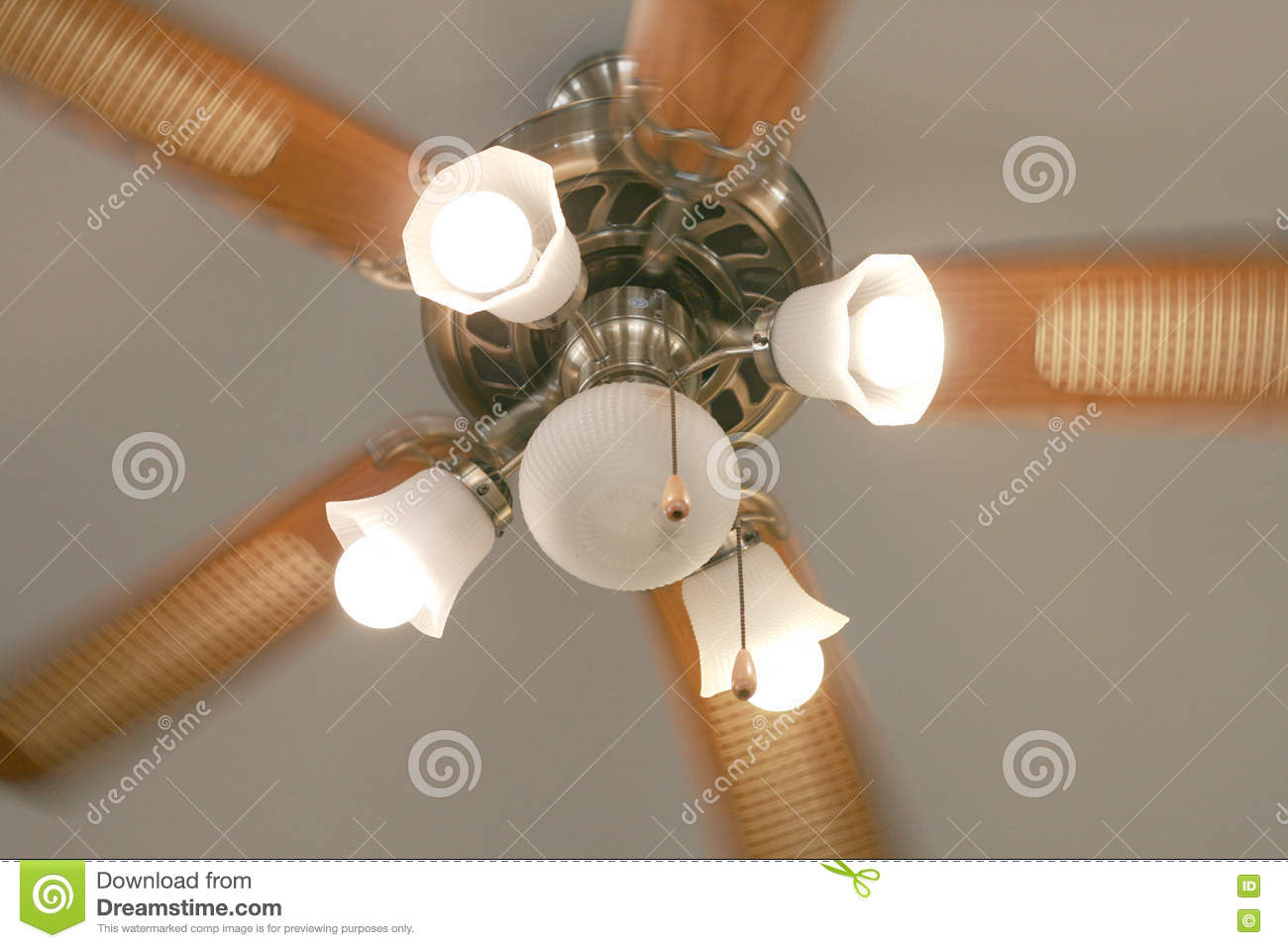 Moving ceiling fan with lamp in vintage style stock photo   image ...
