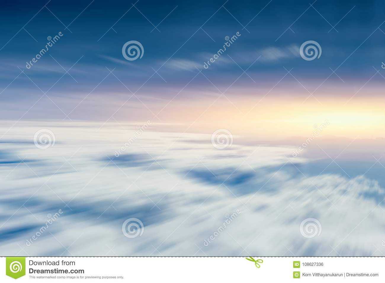 Moving cloud sky view from aircraft for going future