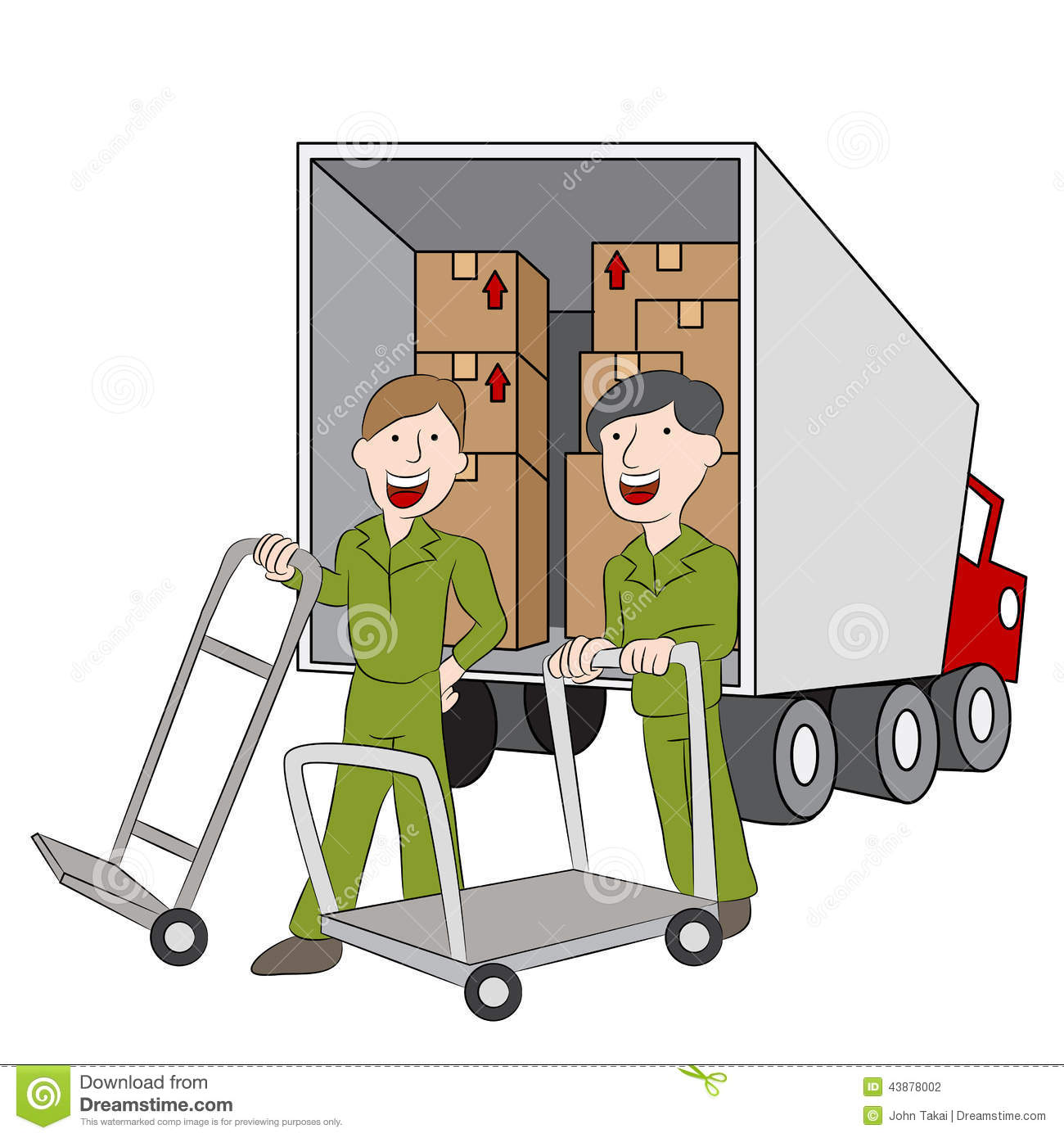 moving company employees and truck stock vector. Black Bedroom Furniture Sets. Home Design Ideas