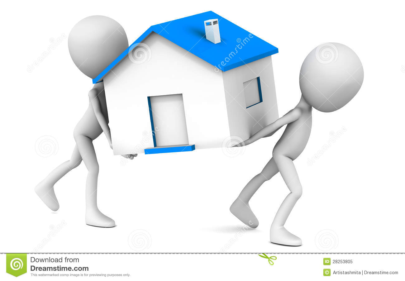 Moving house concept, two 3d men moving a house model with blue roof ...