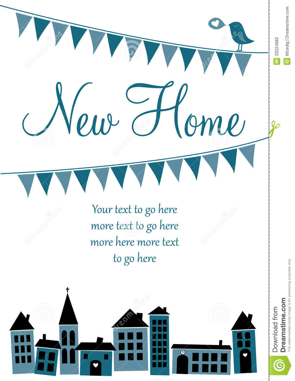 New home card stock vector illustration of home sale for Moving home cards template