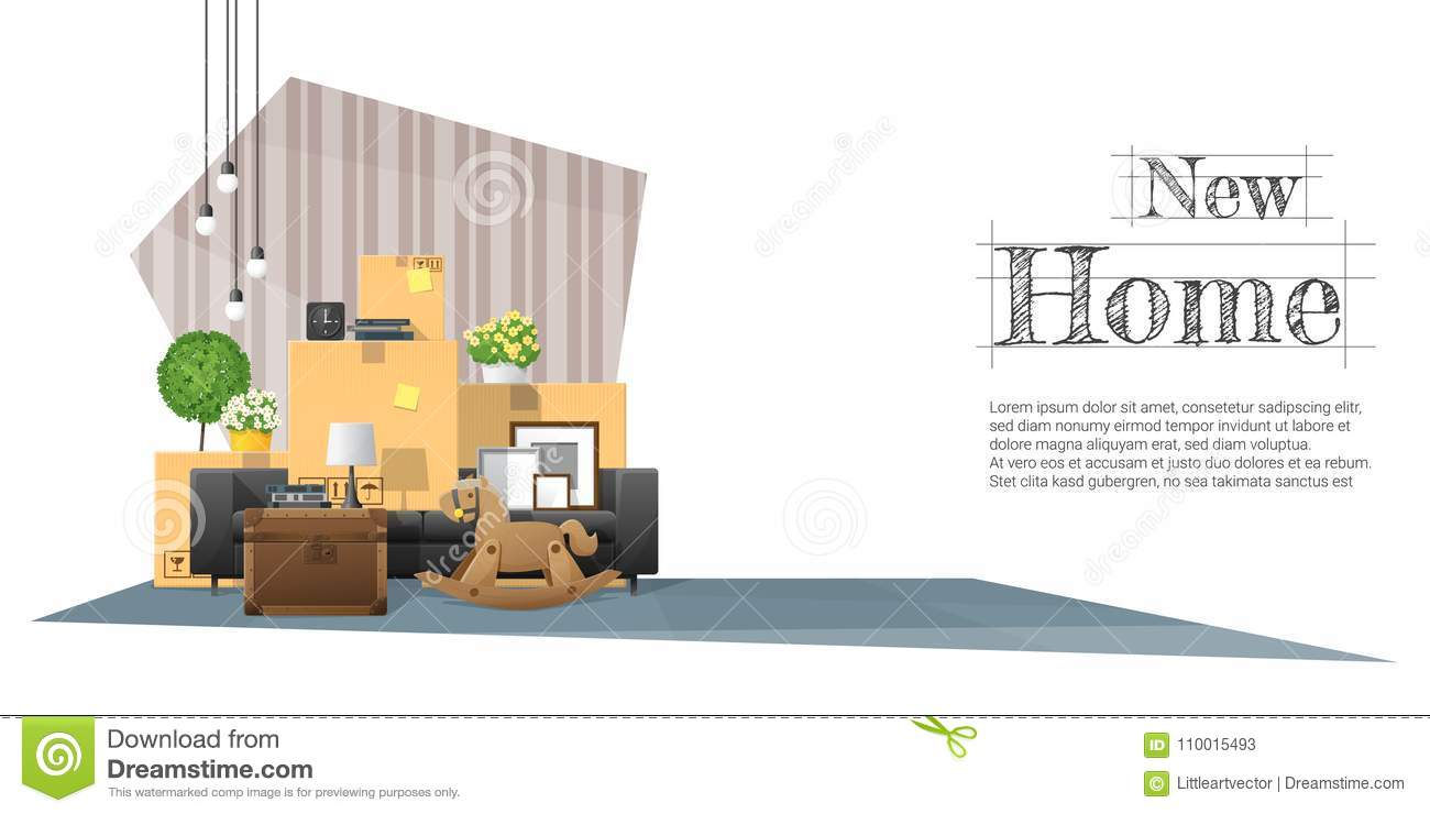 Good Moving Home Concept Background With Cardboard Boxes And Furniture In New  Living Room