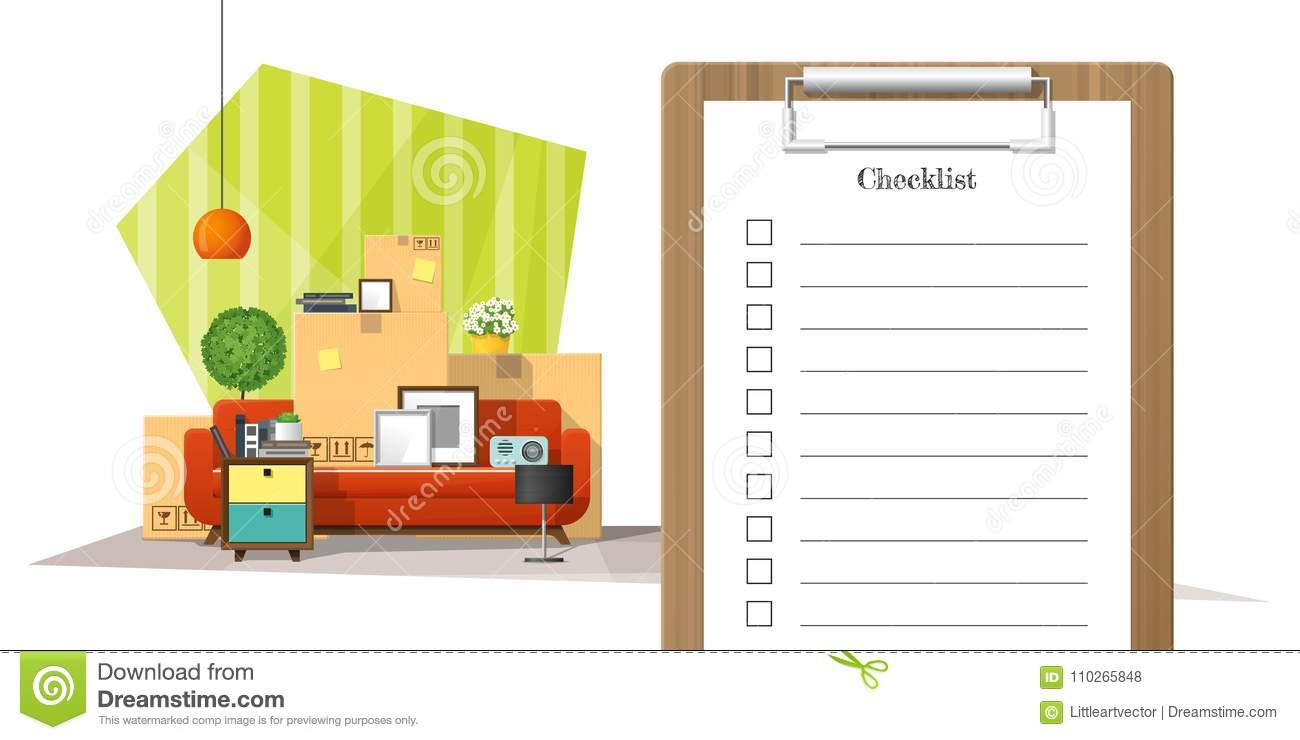 Download Moving Home Concept With Survey Clipboard And Pile Of Furniture  Background Stock Vector   Illustration