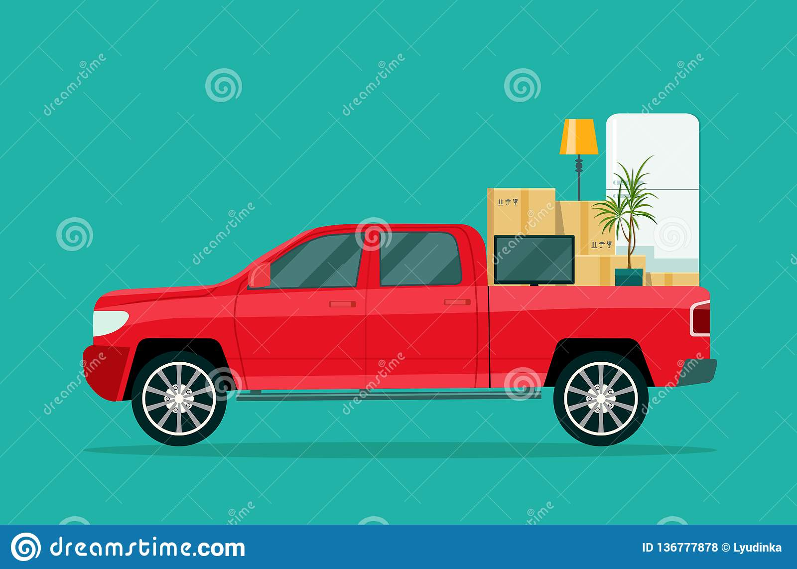 Moving House Pickup Truck With Cardboard Boxes And Furniture Stock