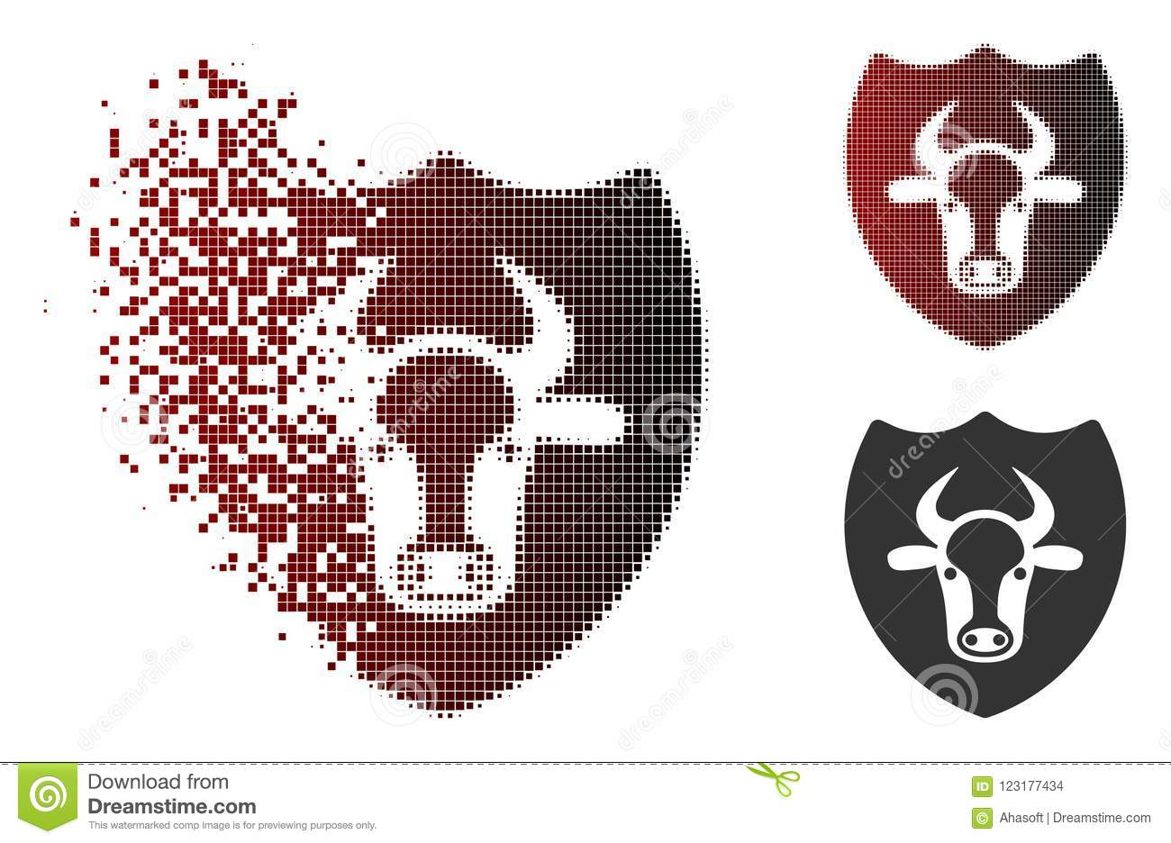 Moving Pixel Halftone Bull Shield Icon Stock Vector Illustration Of Glyph Dematerialization 123177434