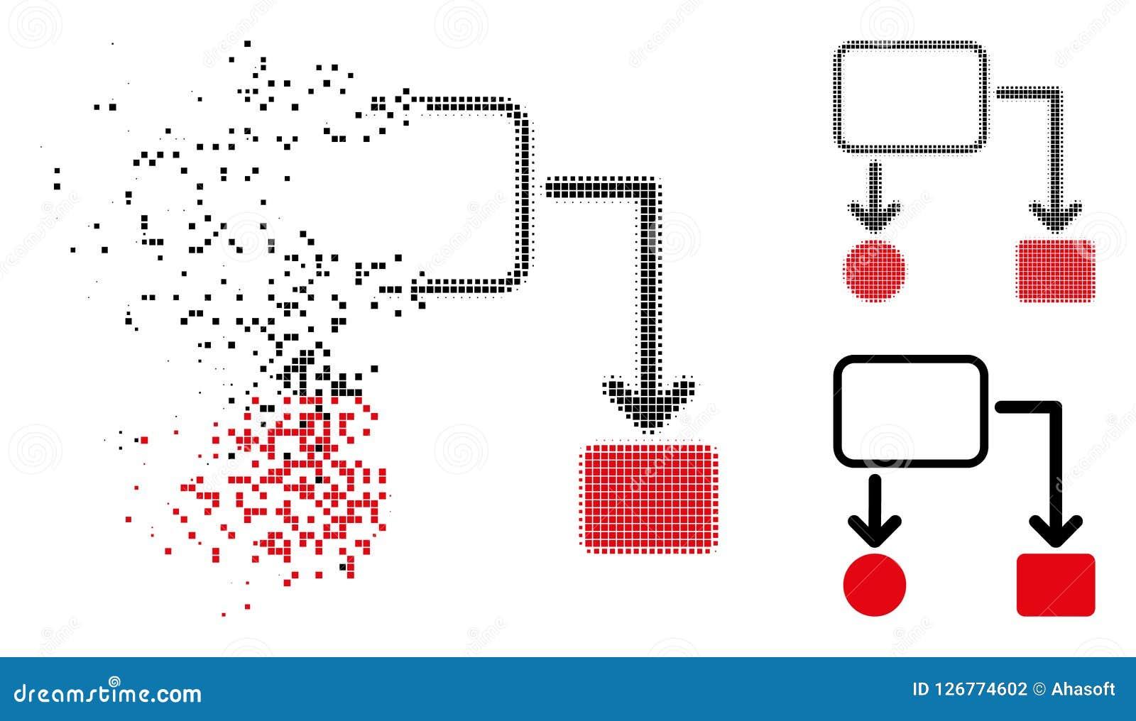 Moving Pixelated Halftone Flowchart Scheme Icon
