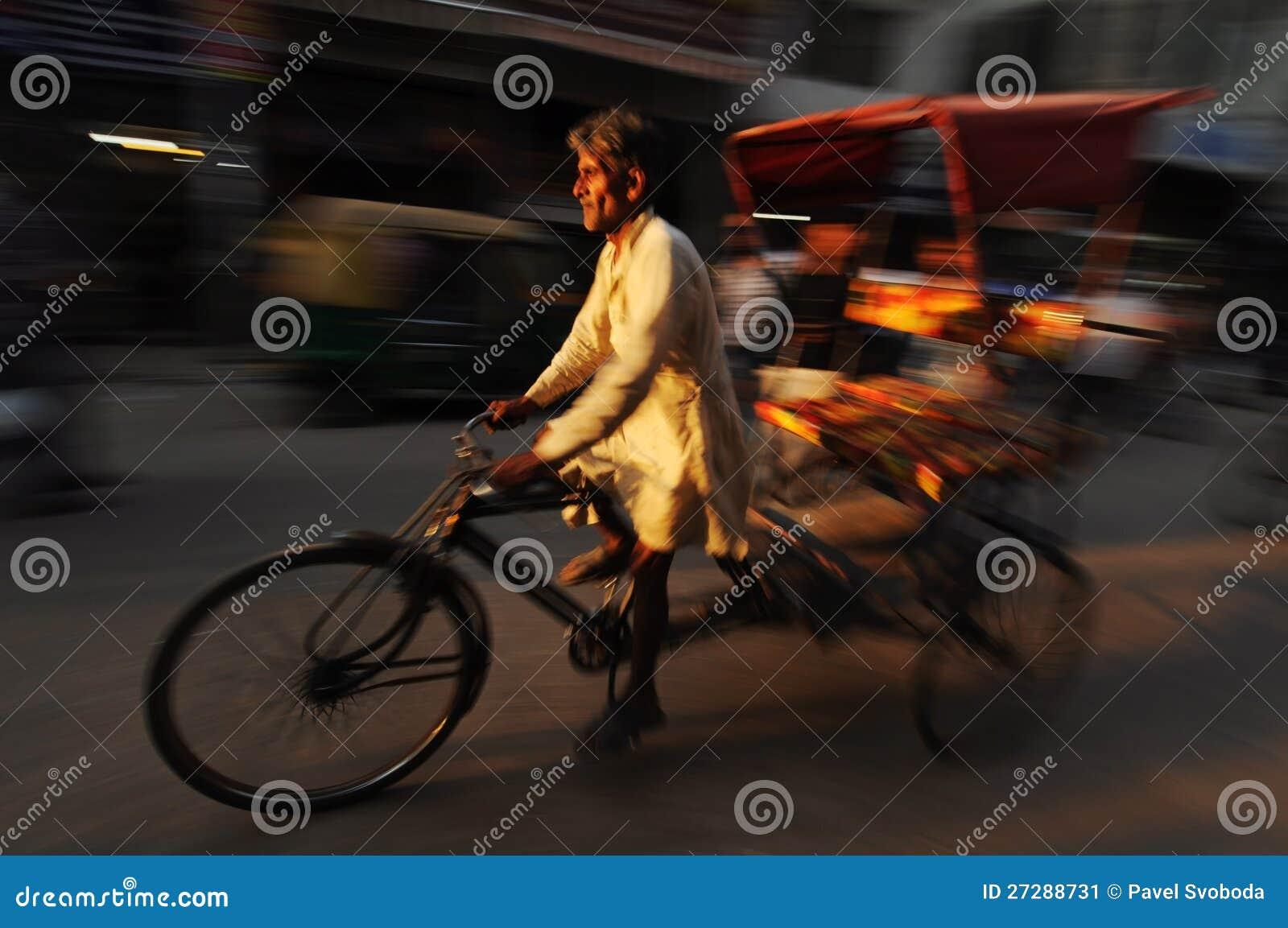 Moving rickshaw, gammala Delhi, Indien