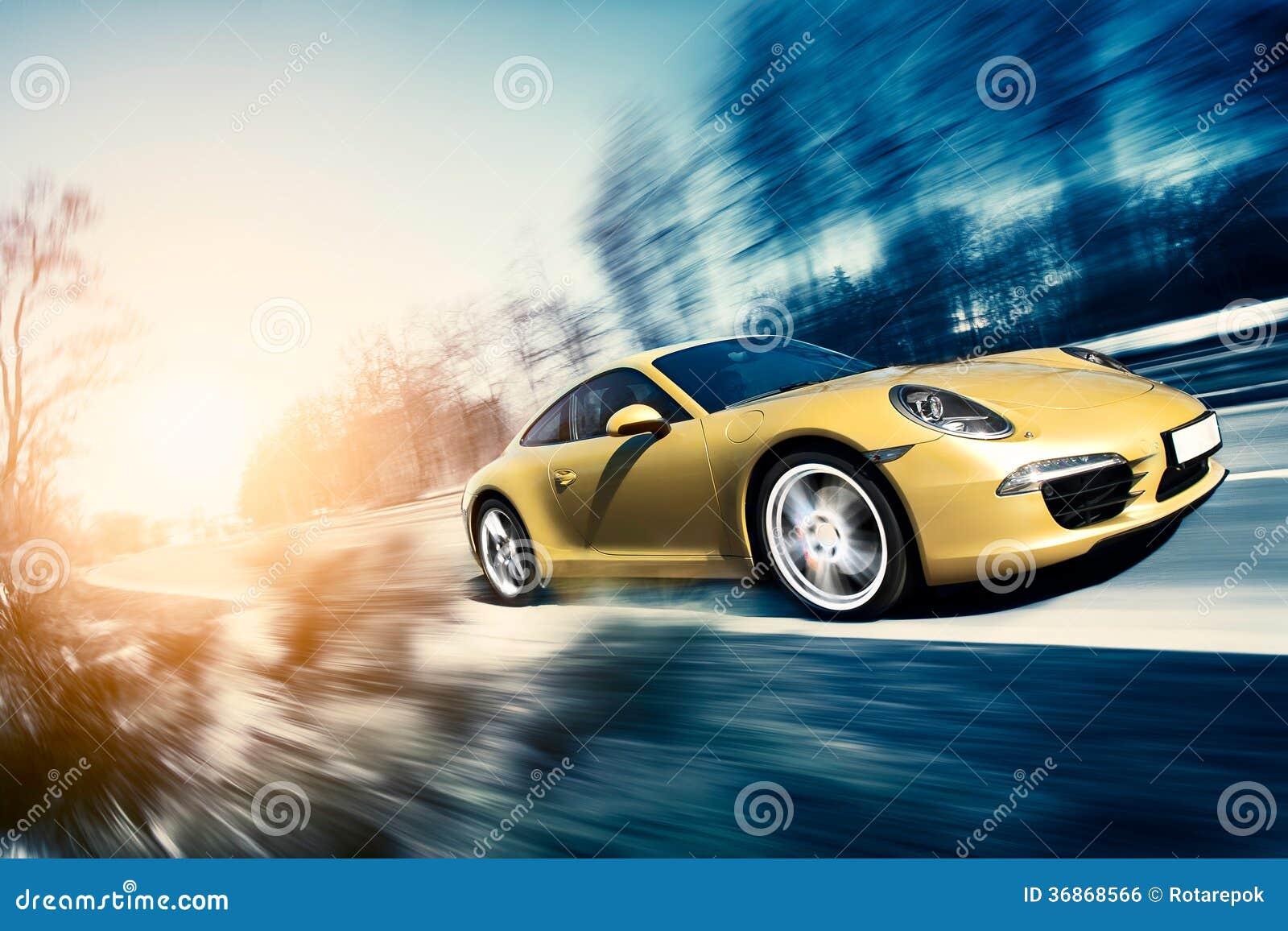 Moving sport car