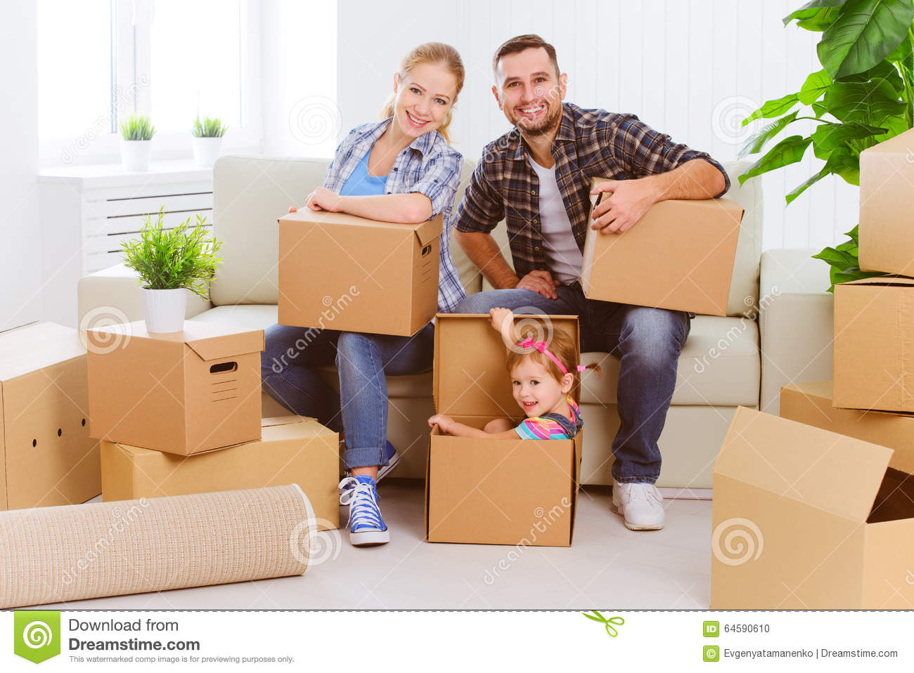 Family moving in to a new home stock photo cartoondealer for Moving to new house