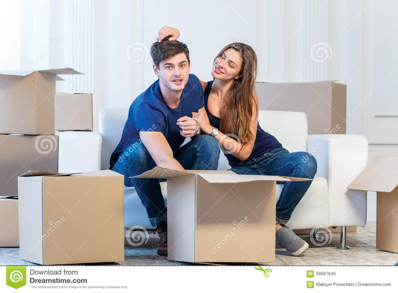 Moving to a new house and repairs in the apartment love couple stock image image of estate - Young couple modern homes ...