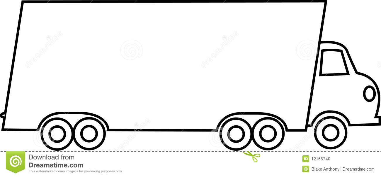 Vector illustration line drawing of a moving truck.