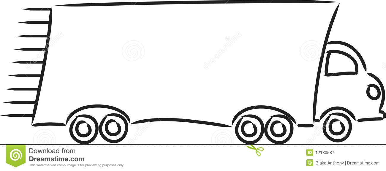 Line Art Truck : Moving truck stock vector illustration of black vehicle