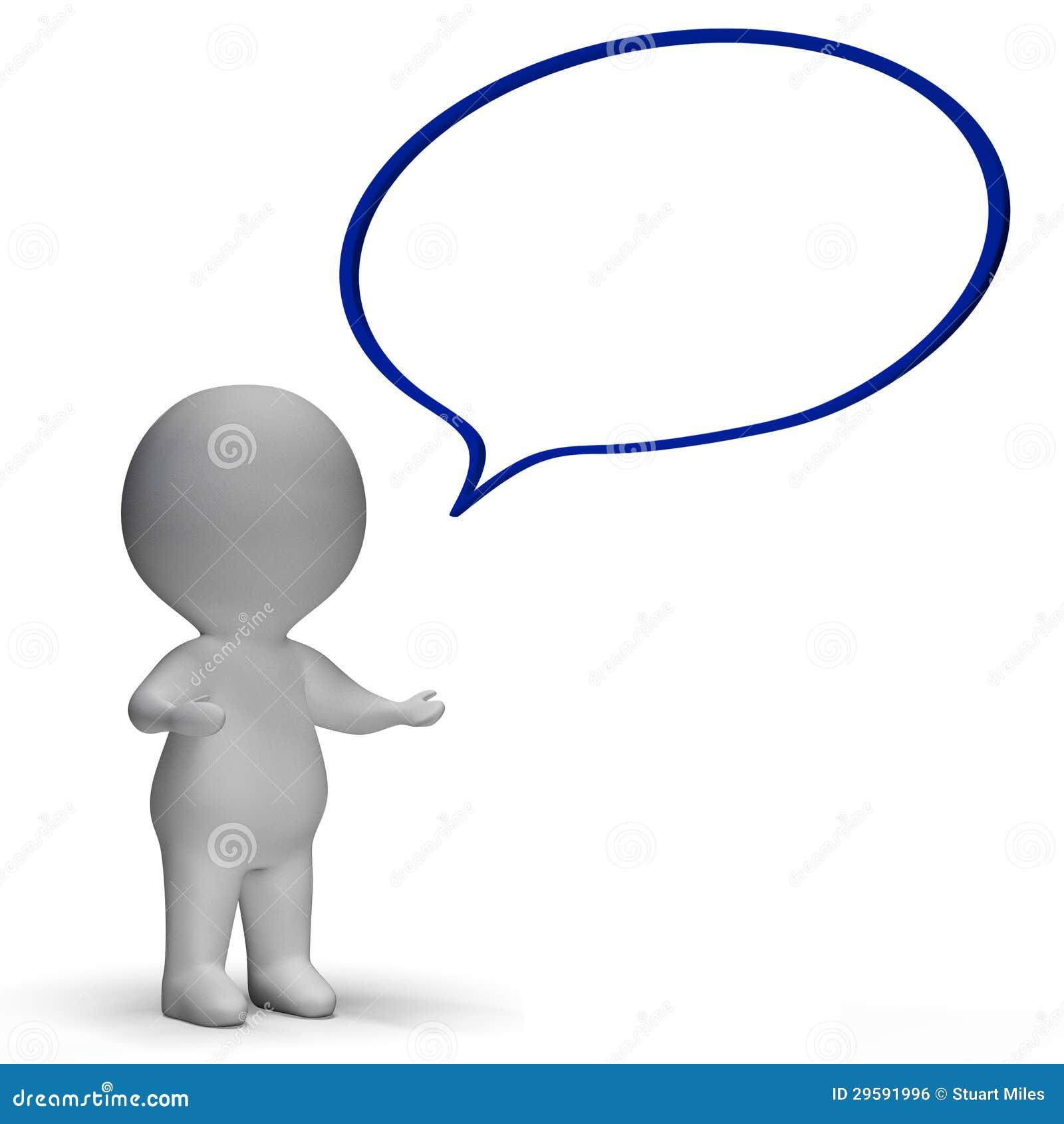 Mowa bąbel, 3d charakteru sposobów zawiadomienie I Mówić Lub