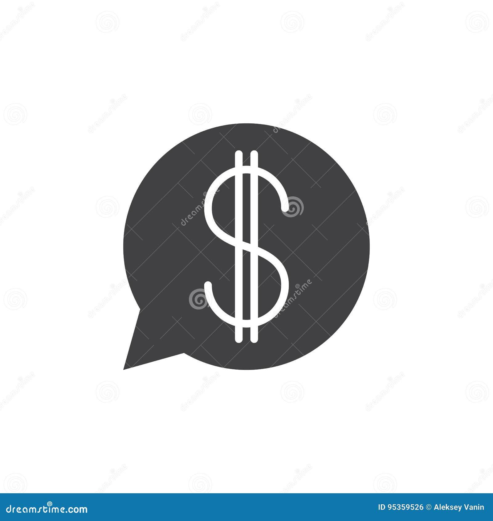 Mowa bąbel z dolarowego znaka ikony wektorem, wypełniający płaski symbol,