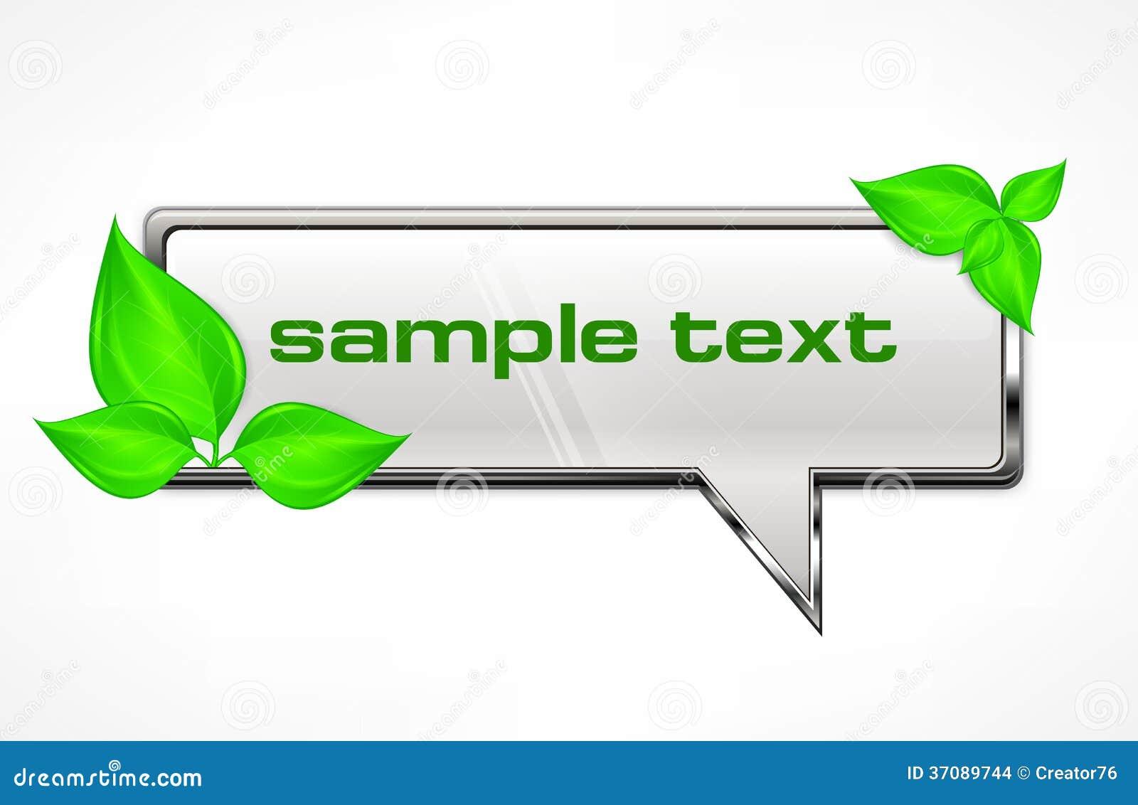 Download Mowa Bąbel Z Zielonymi Liśćmi Ilustracja Wektor - Ilustracja złożonej z grafika, kruszcowy: 37089744