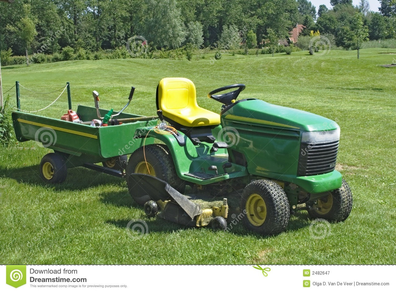 Mower on golf course editorial photography  Image of grass