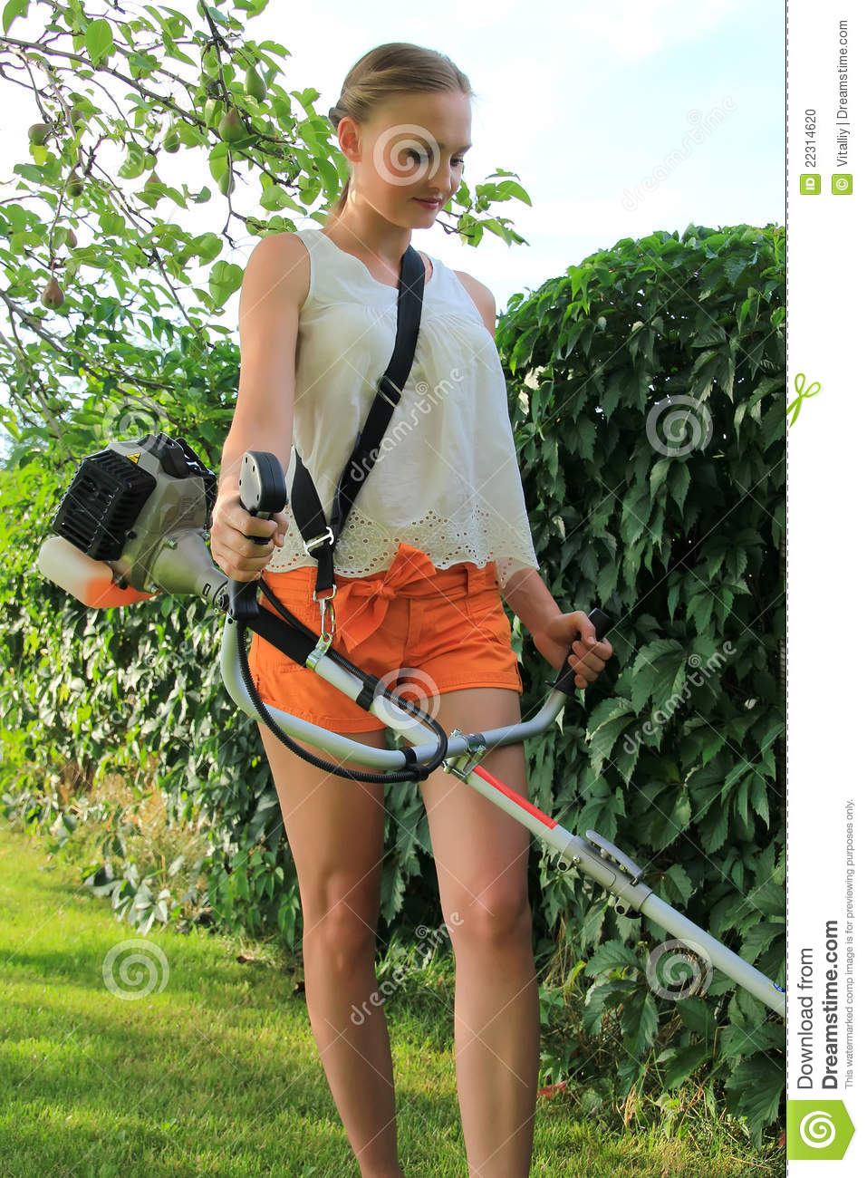 Mowing The Grass Stock Photo Image Of Shorts Grass