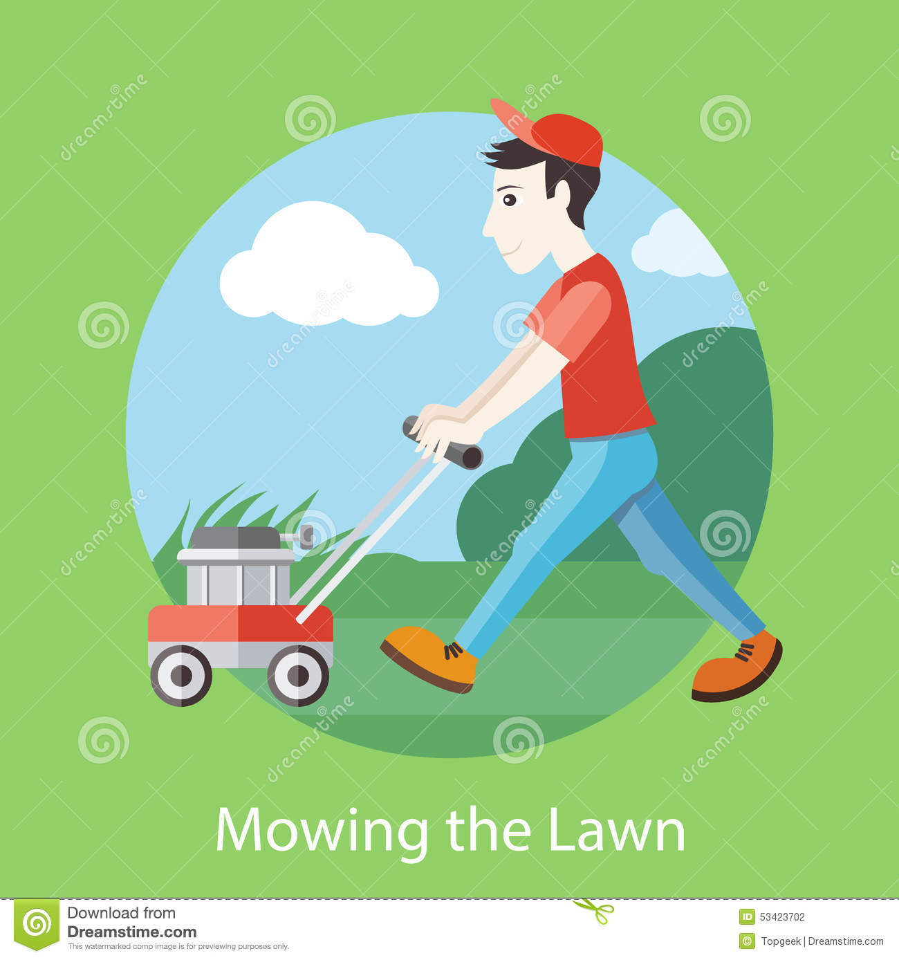 Mowing The Lawn Stock Vector Image 53423702