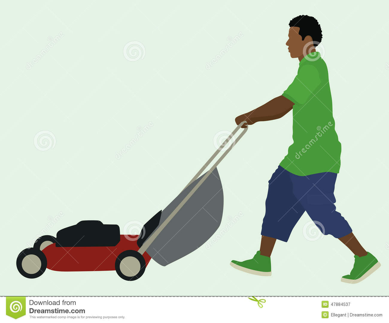 Mowing The Lawn Stock Vector - Image: 47884537