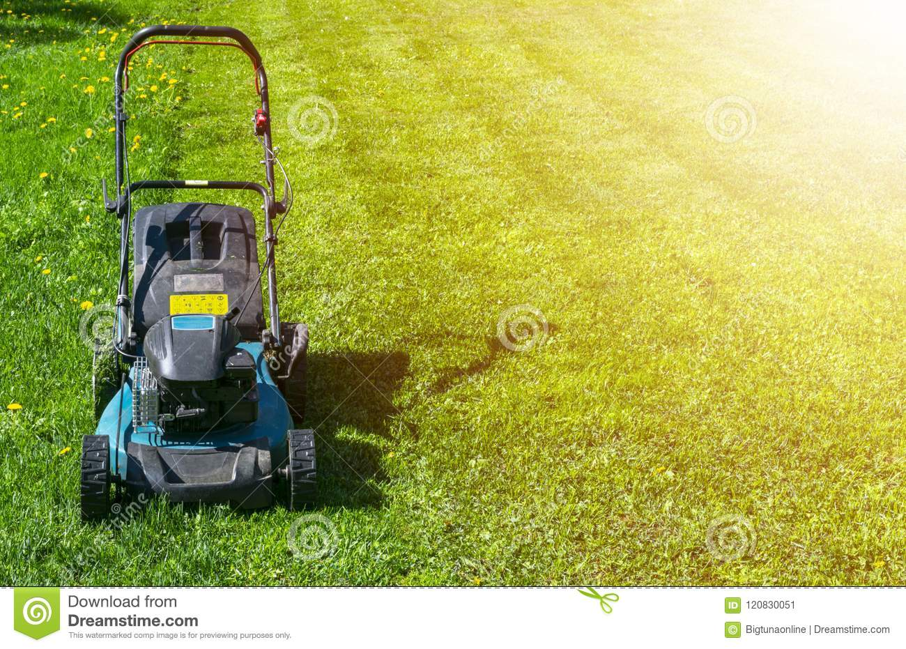 Mowing lawns, Lawn mower on green grass, mower grass equipment, mowing gardener care work tool, close up view, sunny day. Soft lig