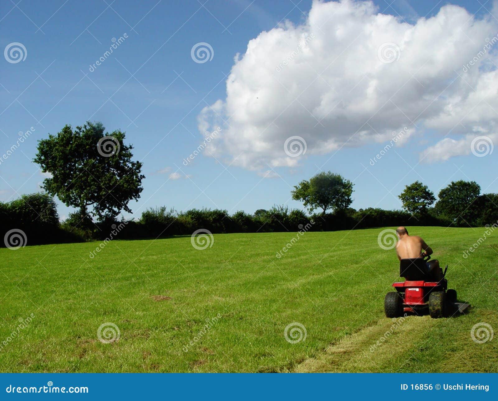 mowing man