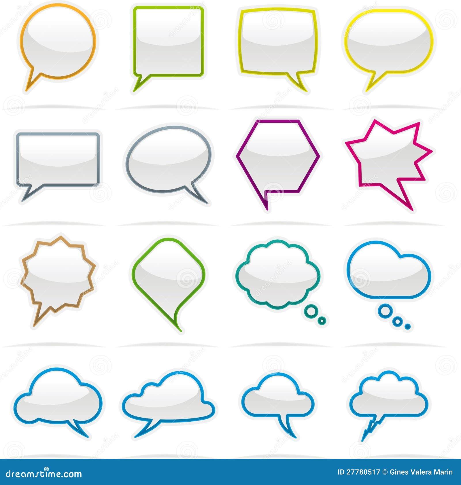 Mowy bąbla ikony set
