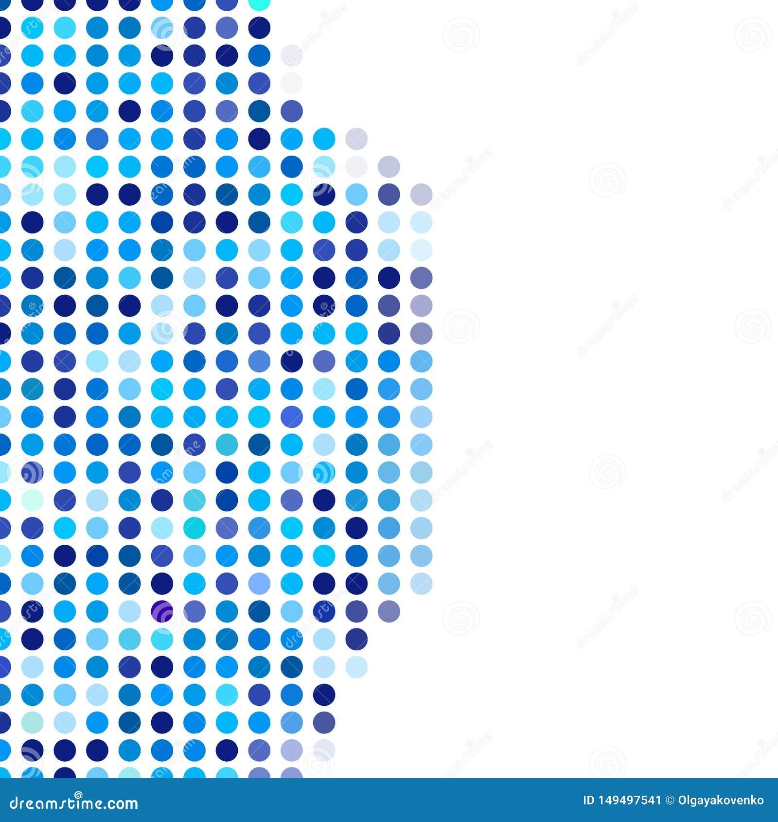 Mozaïek willekeurige donkere en lichtblauwe cirkels als achtergrond, vectorpatroon van stippen, neutraal veelzijdig patroon voor