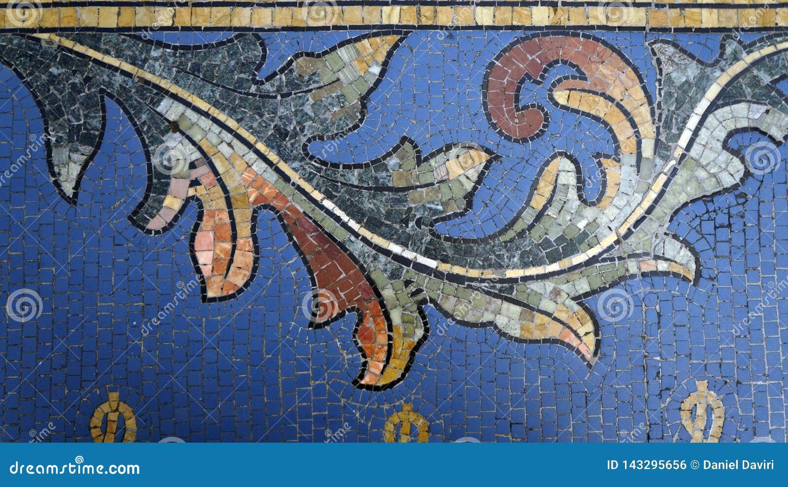 Mozaïekdetail op vloer Vittorio Emanuele II Galerij milaan Italië