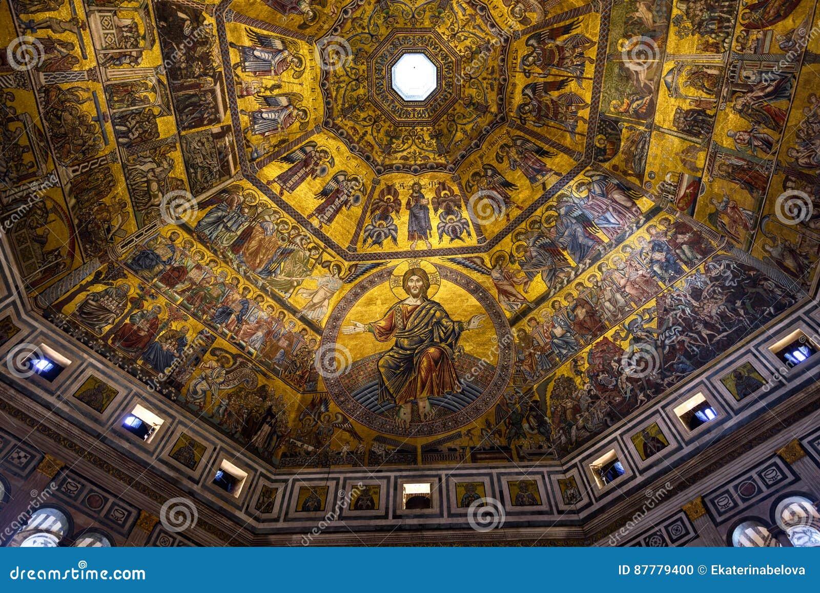 Florence Badkamer Plafond : Mozaïekplafond van florence baptistery van san giovanni battistero