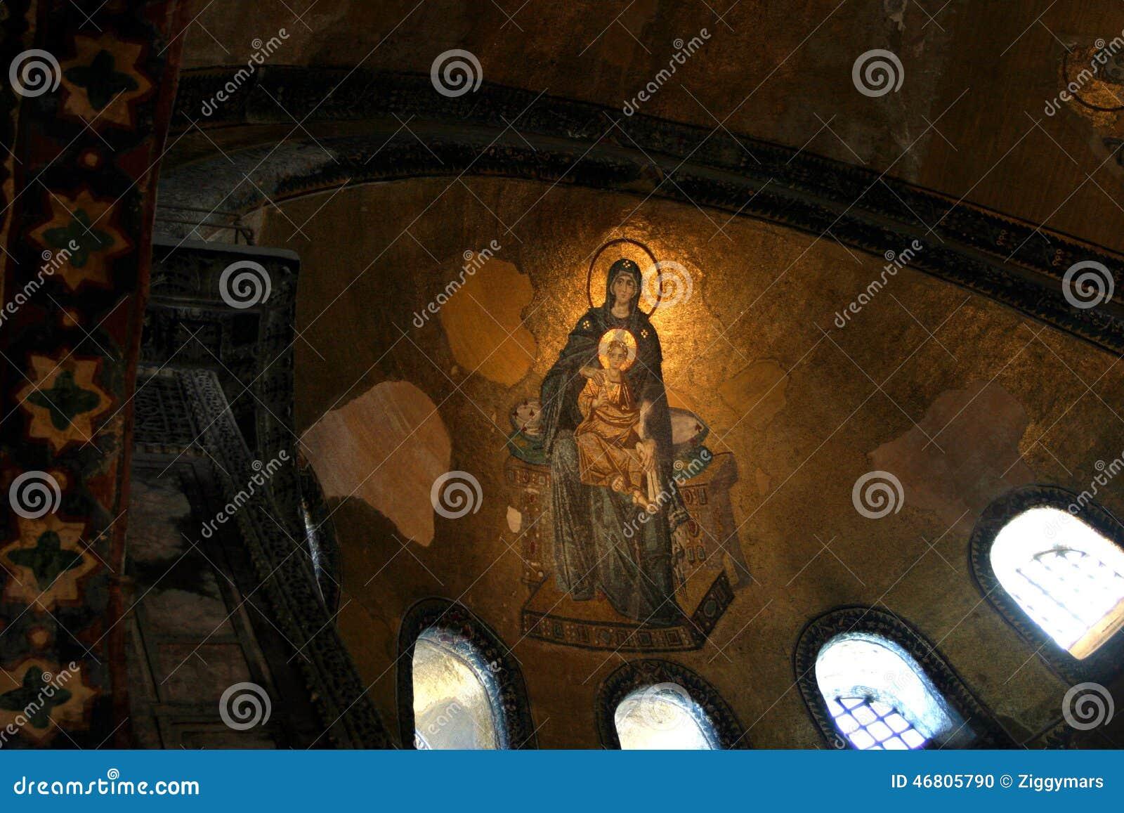 Mozaika dziewicy dziecko przy Hagia Sophia i matka