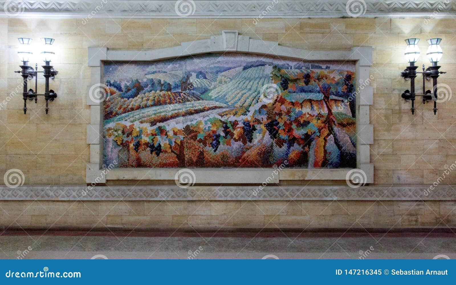 Mozaika obraz pole z winogradami