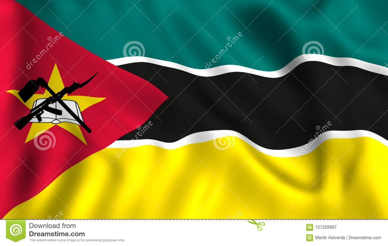 Mozambique Flag Waving Symbol Country Stock Illustration