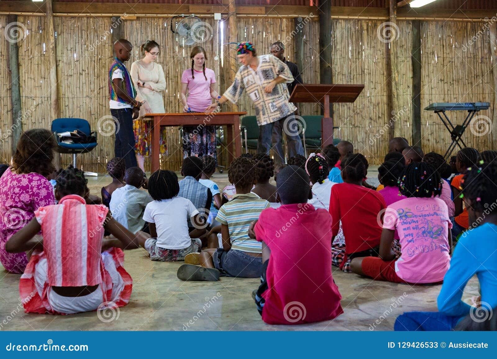 Mozambique Pentacostal Church gathering scenes in Xai Xai