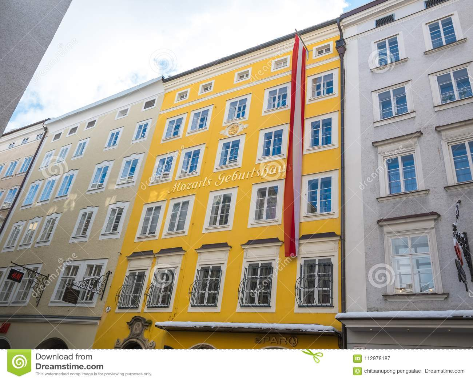 Mozart birthplace in salzburg austria flag winter season snow