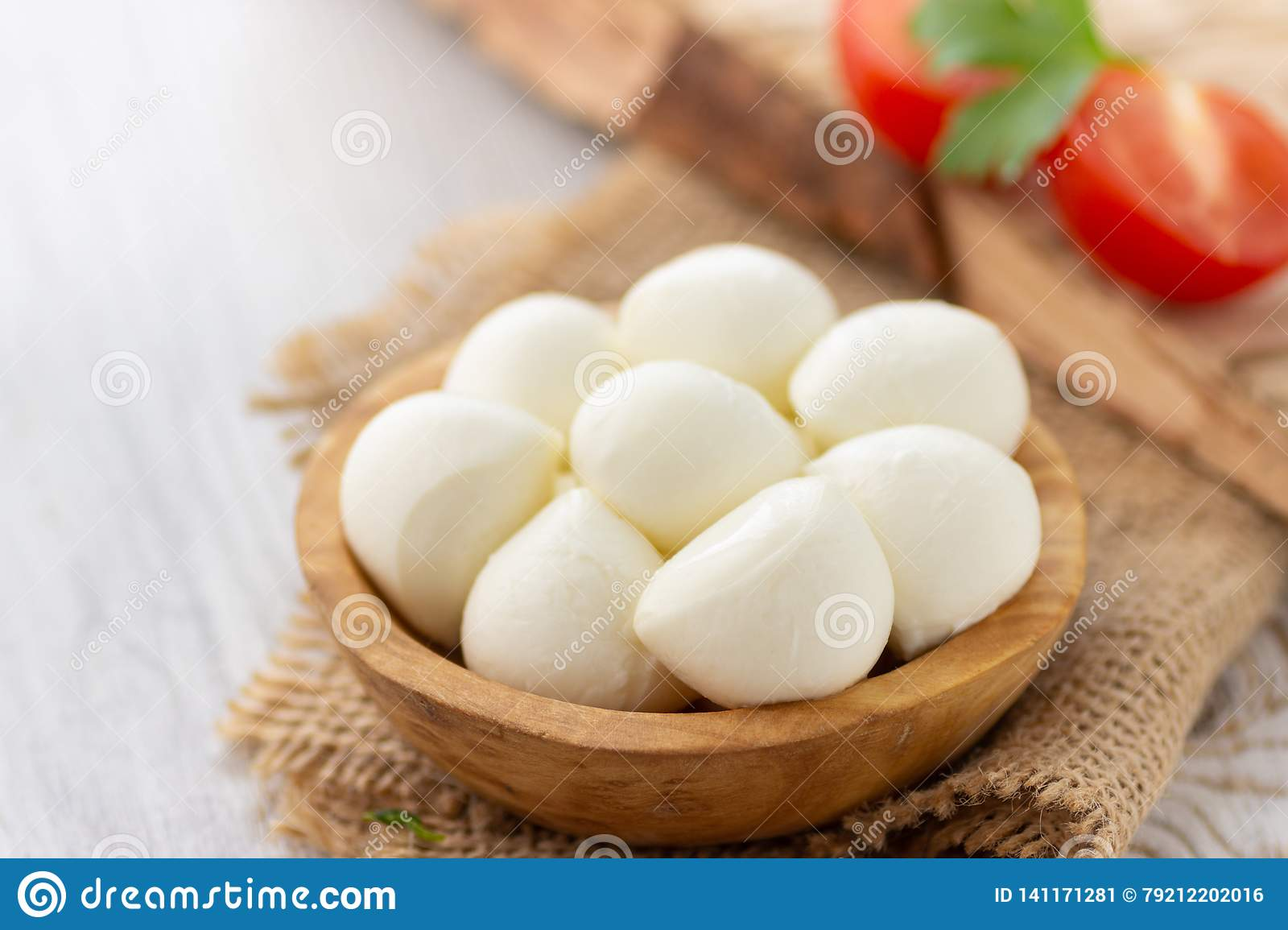 Mozzarella Cheese In Wooden Bowl Stock Image Image Of Food Calories 141171281