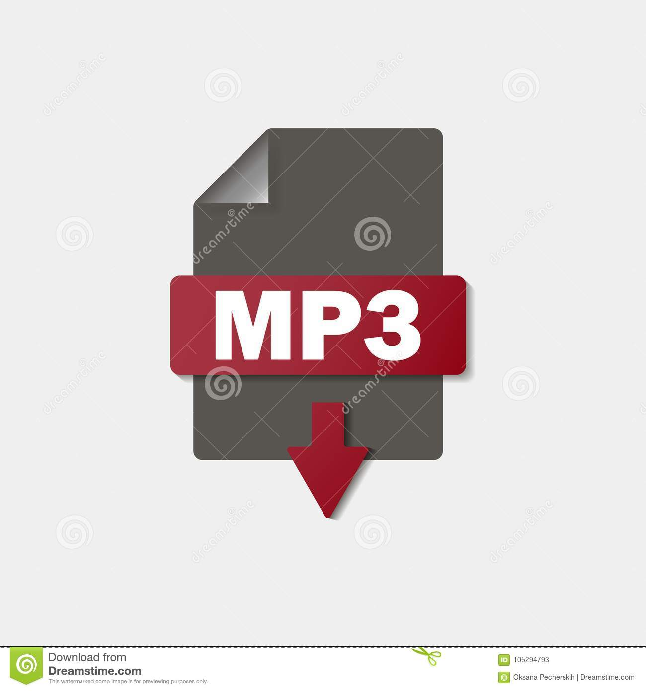 Mp Download Icon On Background Mp Button Stock Vector
