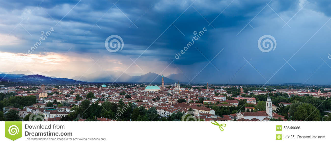 70 MP Panorama Of Vicenza At Sunset Stock Photo - Image of ...