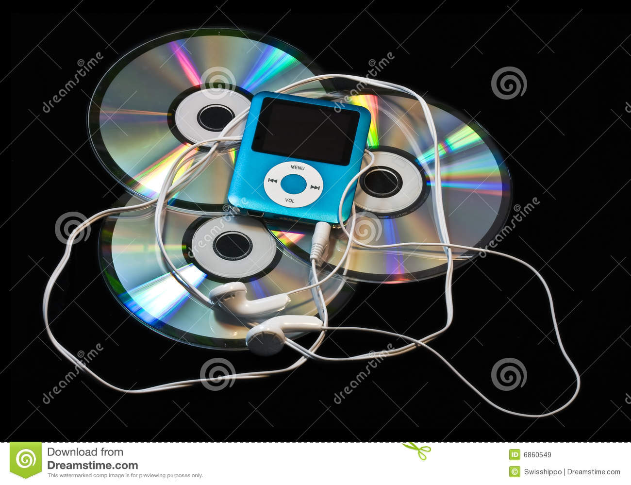 MP3 player over CDs stock image  Image of personal