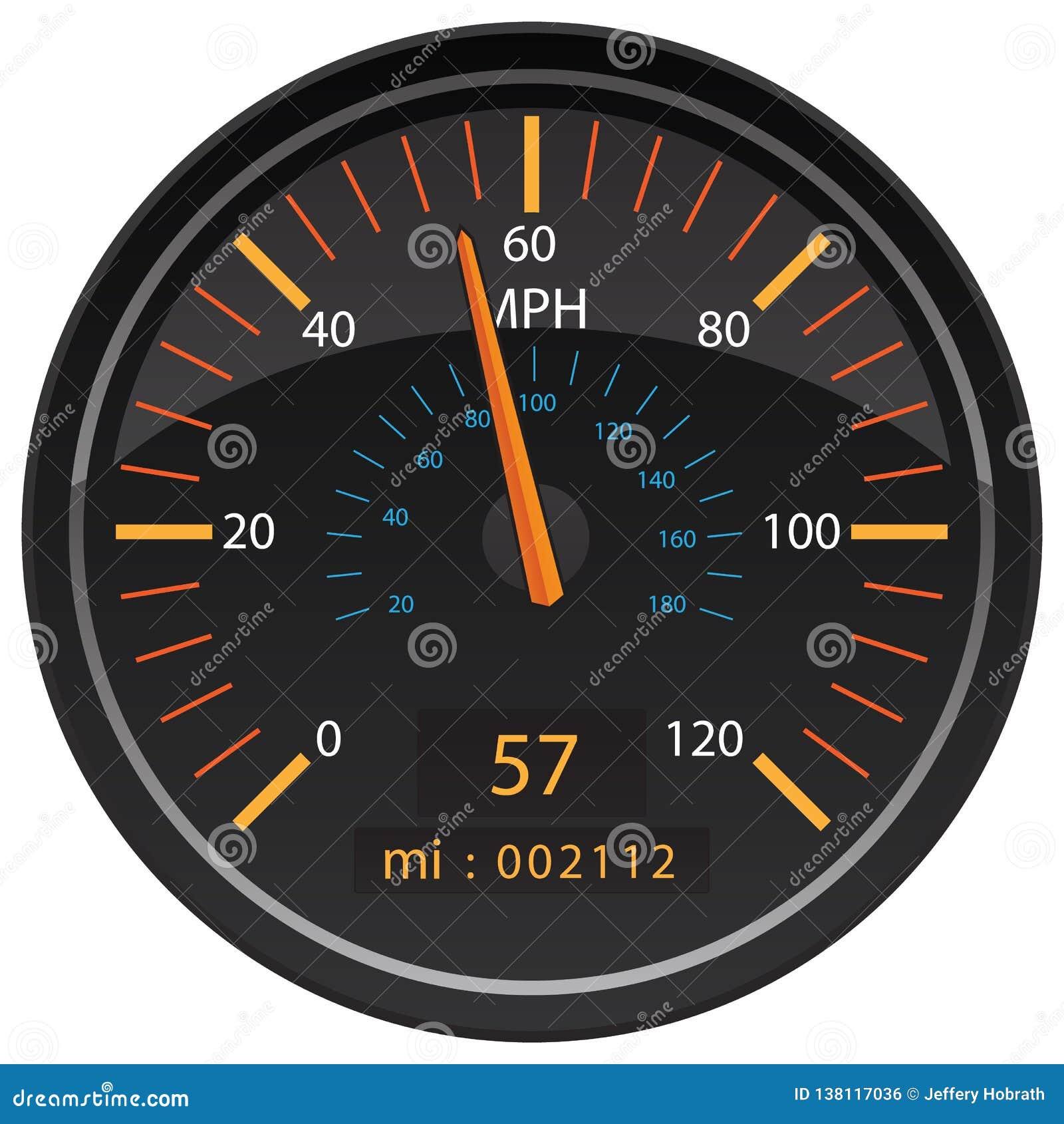 MPH μιλιών ανά ώρα ταχυμέτρων διανυσματική απεικόνιση μετρητών ταμπλό οδομέτρων αυτοκίνητη