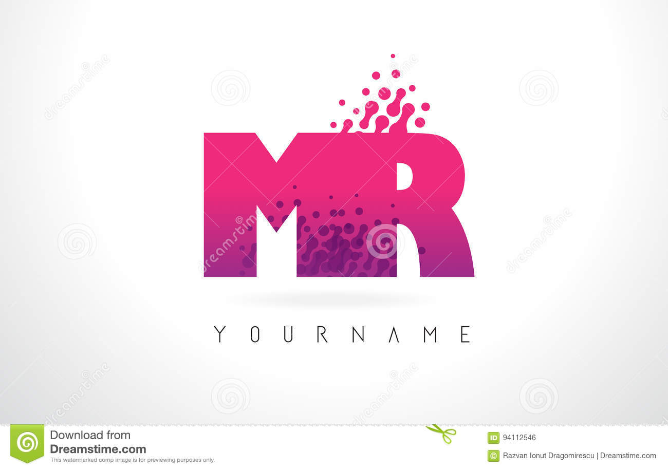 MR M R Letter Logo With Pink Purple Color And Particles Dots Des ...