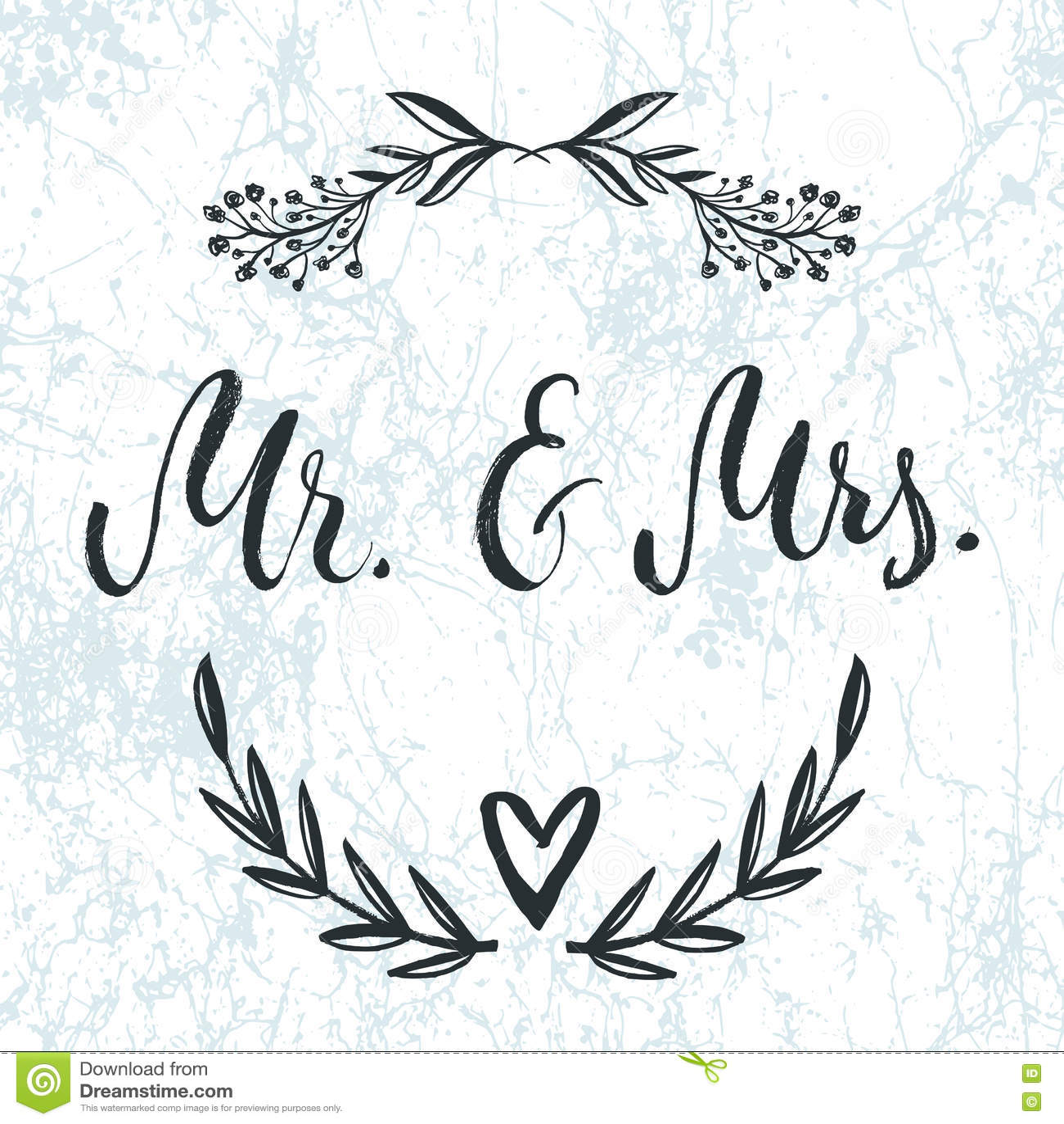 Mr mrs and ampersand symbol bride groom wedding