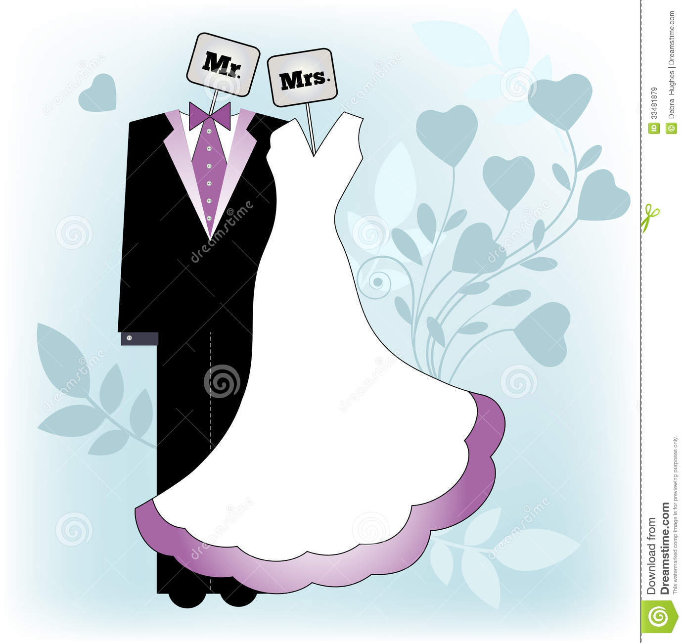 Mr and mrs bride and groom clothing on a hanger placards with mr and