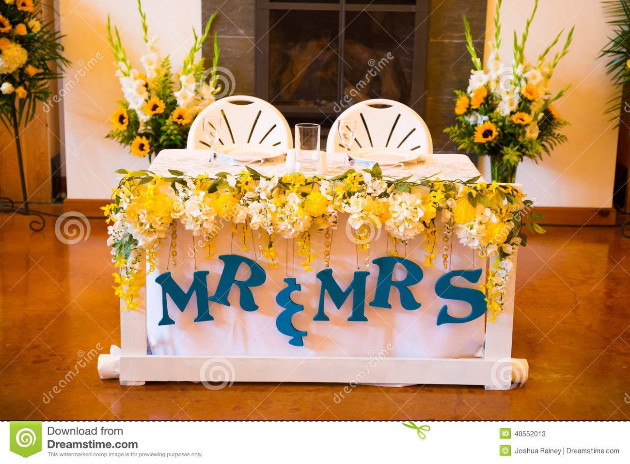 Mr And Mrs Bride Groom Wedding Table Stock Photo