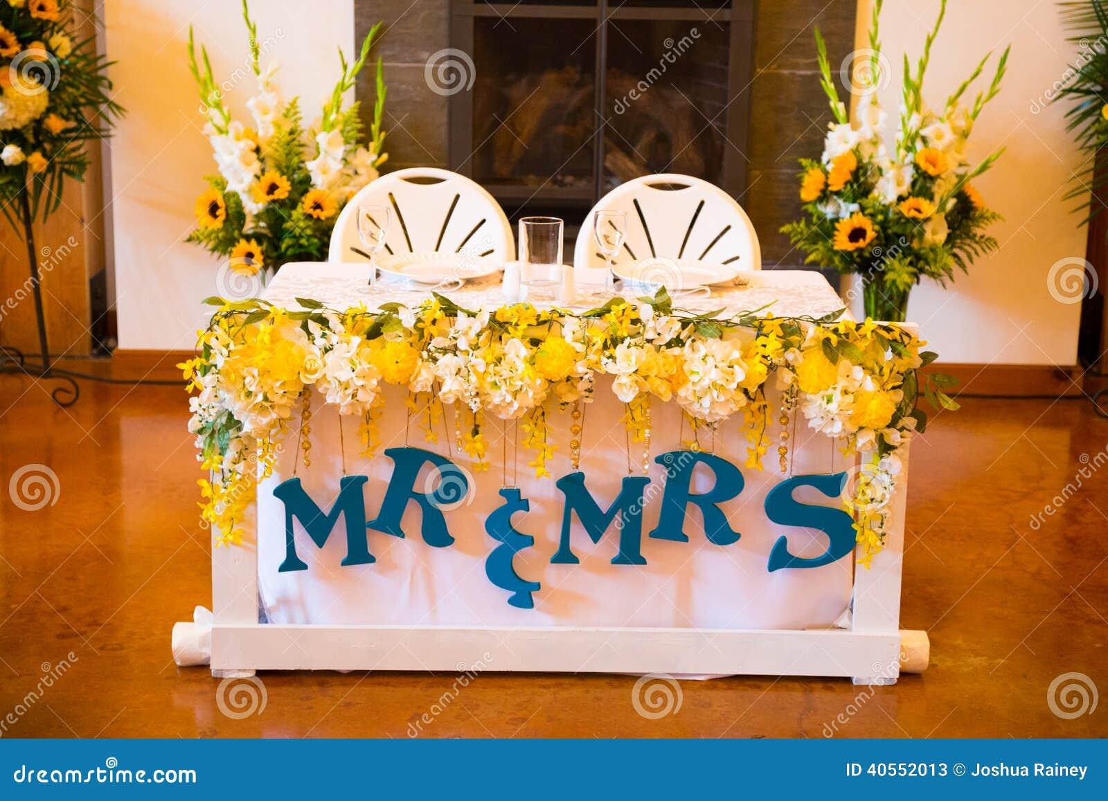 Mr And Mrs Bride Groom Wedding Table Stock Photo