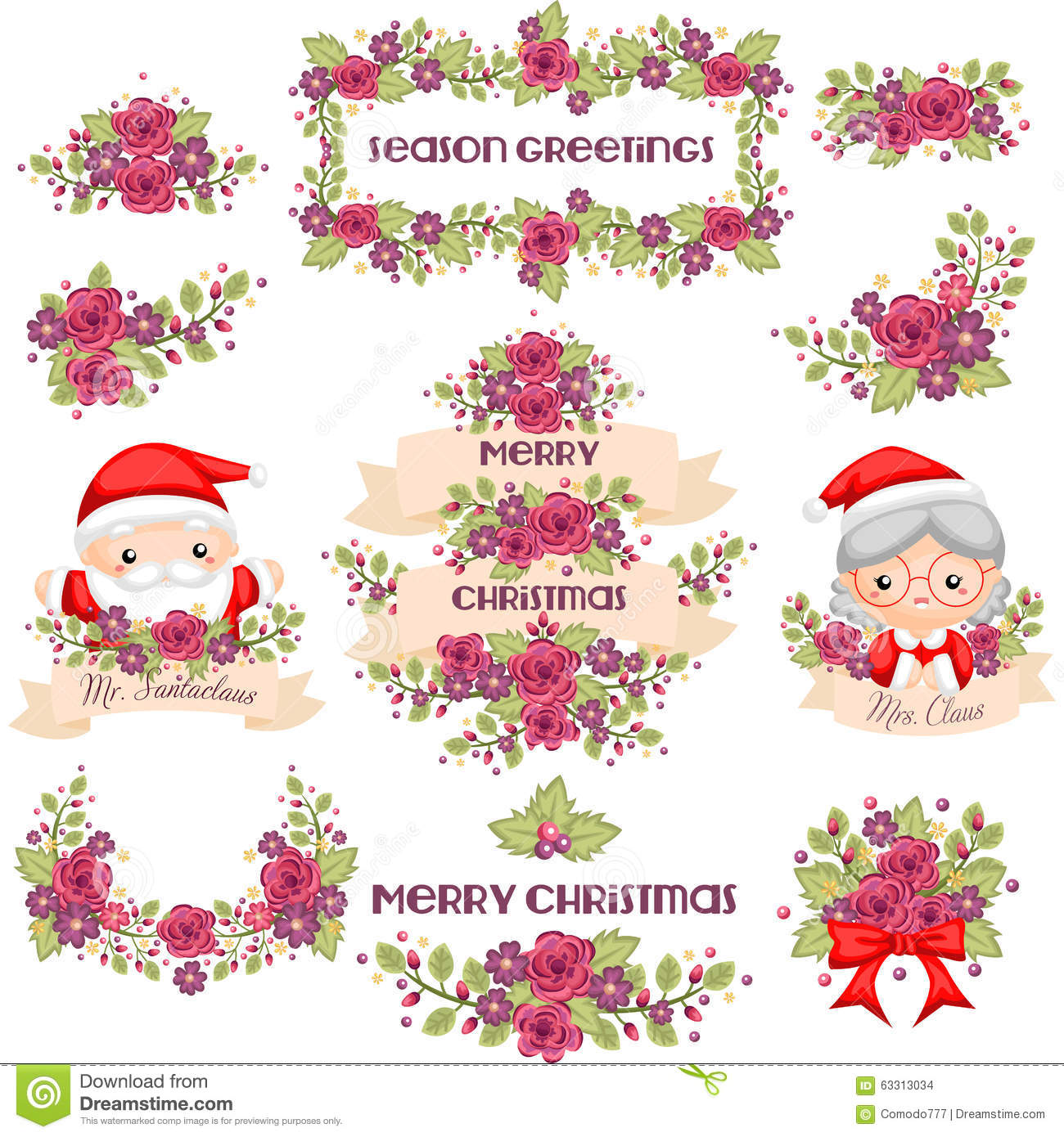 Mr And Mrs Claus With Romantic Christmas Wreath Stock Illustration