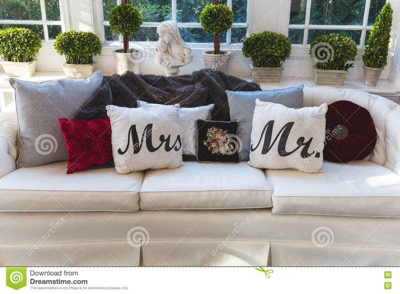 pillows on couch royalty