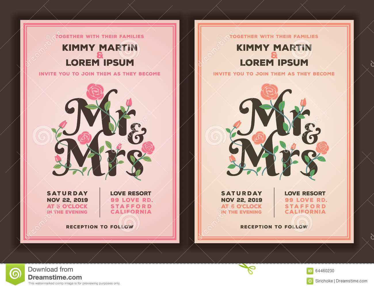 Mr And Mrs Title With Flower Wedding Invitations Template Stock ...