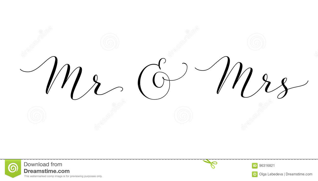 Mr And Mrs Words With Ampersand. Mister And Missis Hand Written ...
